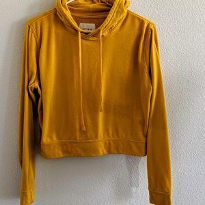 Mustard yellow crop hoodie